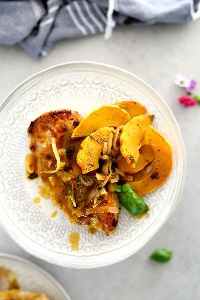 Easy Chicken Breast Recipe with Delicata Squash Pan Sauce (Whole30, Keto, Paleo)