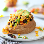 Mexican Stuffed Sweet Potatoes with Spicy Southwest Sauce (Vegan)
