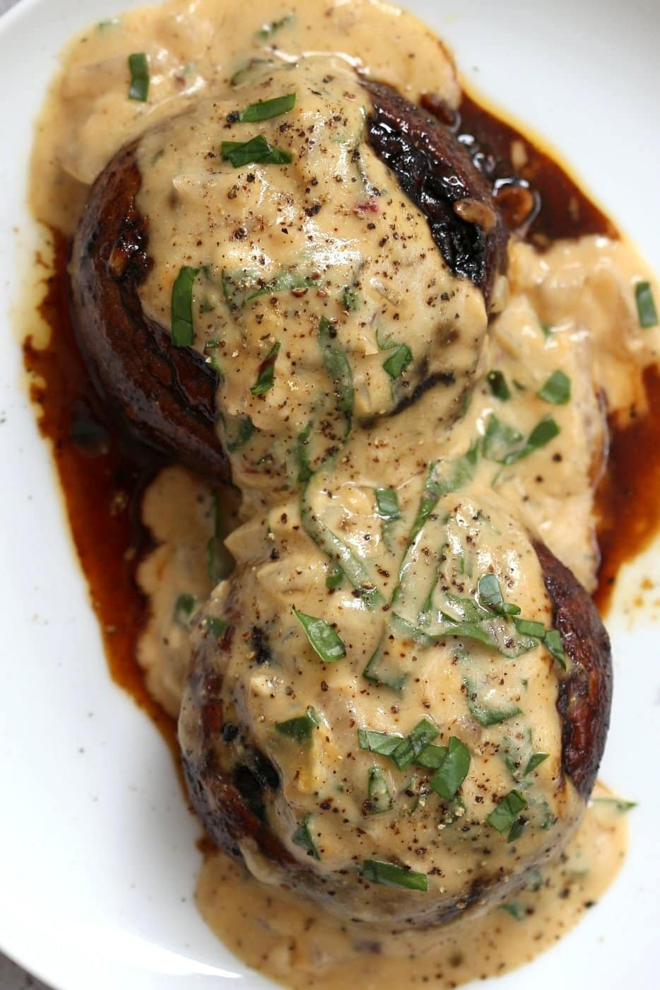 Marinated Portobello Mushroom with Vegan Garlic Sauce