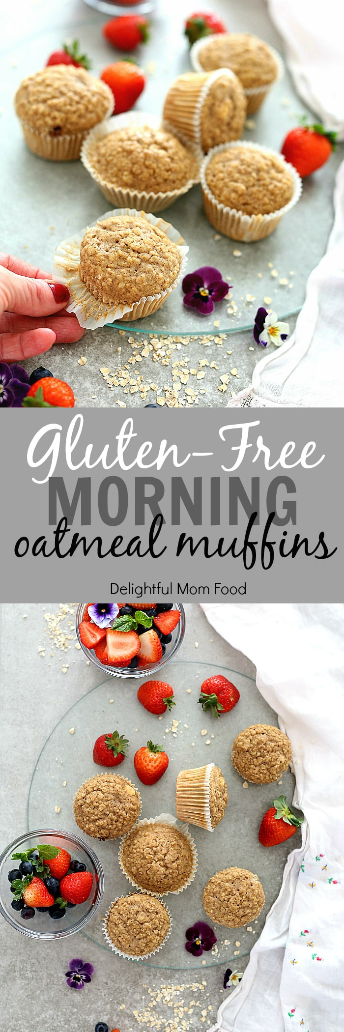 Morning oatmeal muffins are an easy gluten-free breakfast on-the-go! Not only will this oatmeal muffin recipe tantalize your taste buds, the oats will make your heart smile too! #oatmeal #muffins #muffin #recipe #glutenfree #breakfast #brunch #baked | Recipe at delightfulmomfood.com