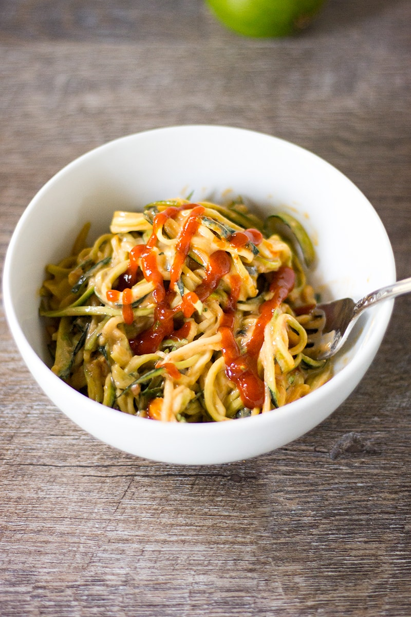 zucchini zoodles in peanut sauce