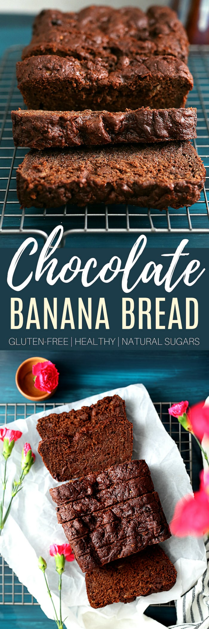 Gluten free chocolate banana bread - One of the richest gluten free chocolate banana bread recipes, especially for being on the healthy side! A favorite chocolate bread loaf easily made with cocoa powder, chocolate chips, ripe bananas, gluten-free flours, and refined sugar free sweeteners. #healthy #glutenfree #quickbread #bread #quick #banana #chocolate #loaf | Recipe at delightfulmomfood.com