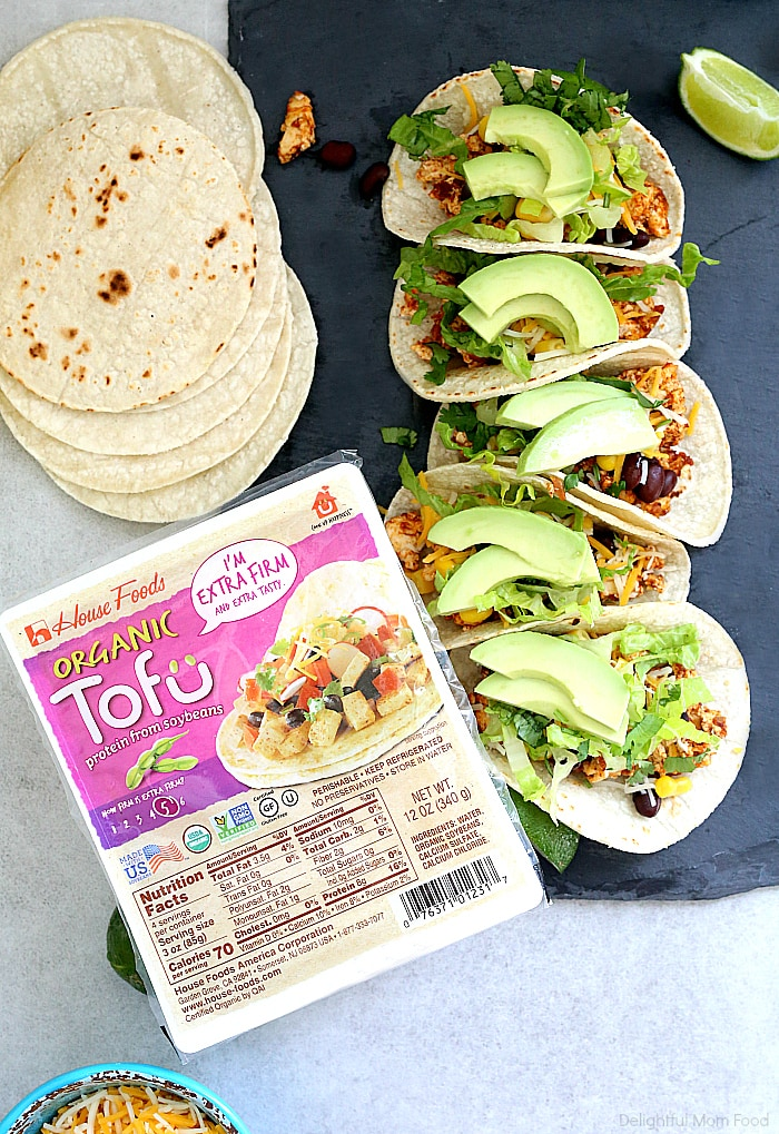 Tofu tacos are a remarkable vegan alternative to taco meat! This tofu taco filling uses extra firm tofu and Mexican taco seasoning in the recipe for delicious tofu taco meat! #tofu#ad #glutenfree #tacos #taco #recipe #healthy #vegan #vegetarian #housefoods #talesoftofu #HouseFoodsPartner | Recipe at delightfulmomfood.com