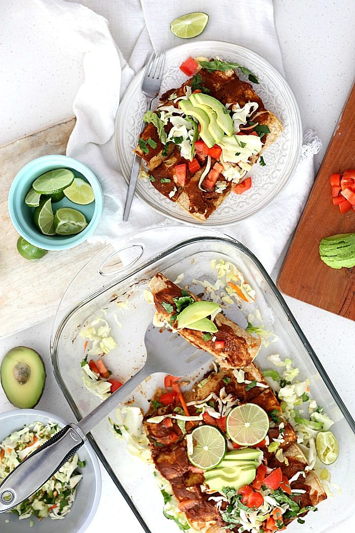 You will be amazed to discover how quick and easy these healthy chicken enchiladasare! This chicken enchilada recipe is gluten-free and can be made in as little as 30 minutes! #healthy #chicken #enchiladas #recipe #glutenfree #easy #quick #30minutemeals #dinner #Mexican | Delightful Mom Food