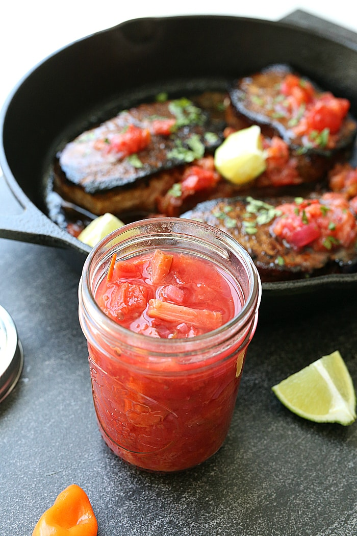 This plum habanero salsa is a wonderful way to use up seasonal plums and juicy tomatoes! It is a little bit of sweet and spicy wrapped up into one delicious salsa! Top it on tacos, burgers, salads and pork chops! #sponsored #plum #habaneros #salsa #recipe #canning #pressurecanning #plumsalsa #BallProudlyHomemad | Recipe at Delightful Mom Food