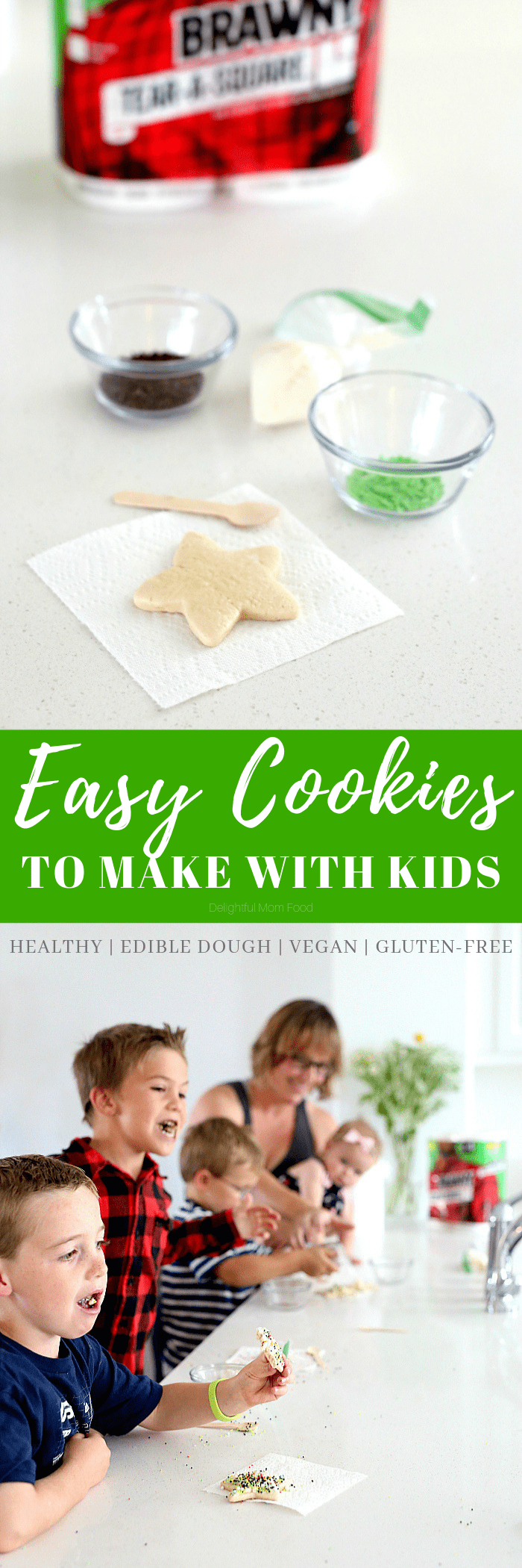 Gather the kids and their friends for an epic cookie party! These gluten-free cut out cookies are easy cookies for kids that they can make with their friends for a cookie exchange during the holidays! #cookies #cookie #vegan #glutenfree #cookiesforkids #easytomake #cookieparty #bakingparty #recipe #PutASquareThere #Brawny #TearASquare #Ad | Recipe at Delightful Mom Food