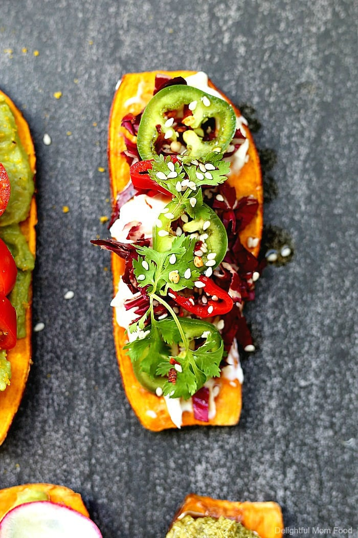 Win over family and friends with these six delicious sweet potato toast recipes! Sweet potato toasts are simple to make, great for paleo, vegan and gluten-free diets and they are packed with healthy nutrients! #sweetpotato #recipe #toast #sweetpotatotoast #vegan #glutenfree #healthy #easy #quick #sweetpotatoavocadotoast | Recipes at Delightful Mom Food