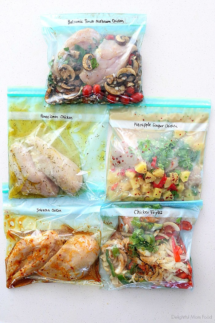 Five tasty chicken freezer meals you can make ahead! These healthy chicken meal prep ideas make busy weeknights a breeze, help you eat healthy and reduce the amount of dishes that need cleaning! #freezermeals #dinner #mealprep #chicken #glutenfree #easy #slowcookermeals | Recipes at Delightful Mom Food