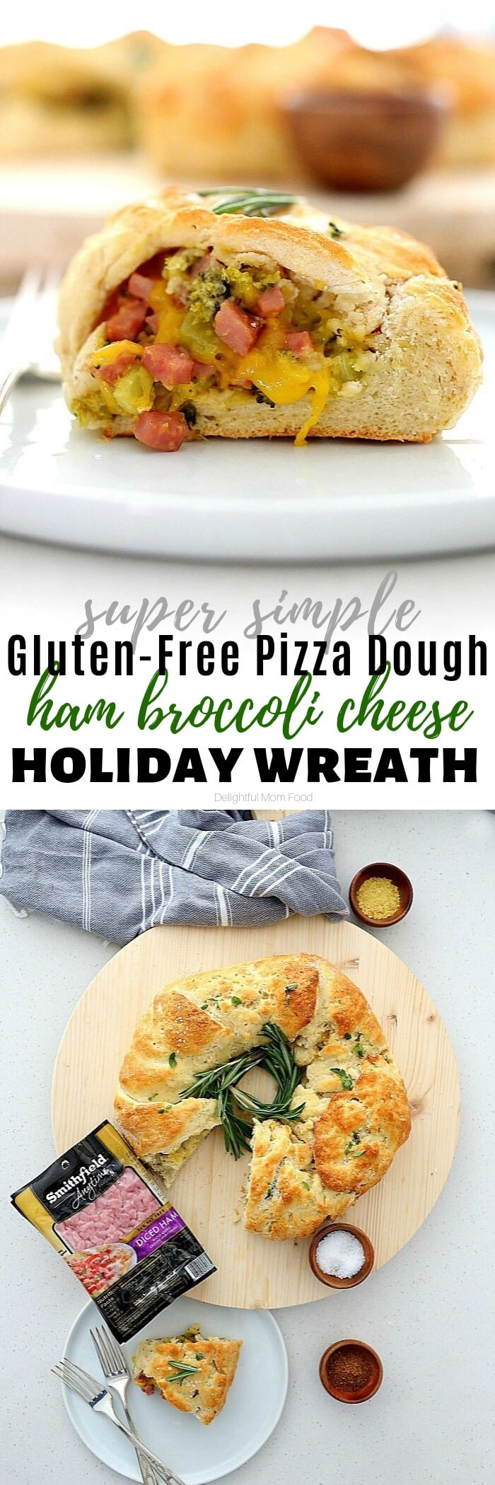 Cozy up this holiday season with this comforting gluten-free and dairy-free holiday wreath simply made with a creamy filling stuffed with diced ham, broccoli and cheese! You will be blown away how easy it is to make a Ham Broccoli Cheese Wreath, plus this one is dairy-free! #sponsored #glutenfree #holiday #Christmas #Thanksgiving #recipe #holidaywreath #ham #hamcheesebroccoli | Delightful Mom Food