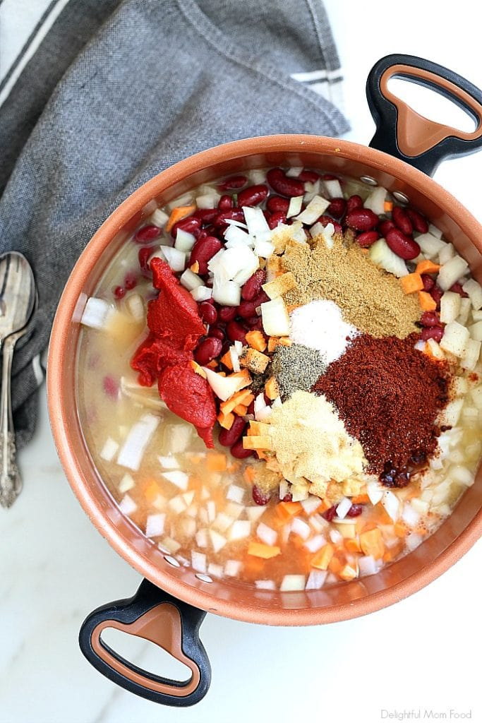 ingredients to make a healthy ground turkey chili with sweet potatoes recipe