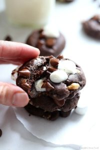 Round up your cookie tray with these Chocolate Rocky Road Cookies! They are easy are delicious and oozing with melted chocolate and gooey marshmallows! #recipe #chocolate #dessert #treats #holiday #Christmas #glutenfree #cookies #cookie #chocolatecookies #rockyroad #dairyfree | Recipe at Delightful Mom Food
