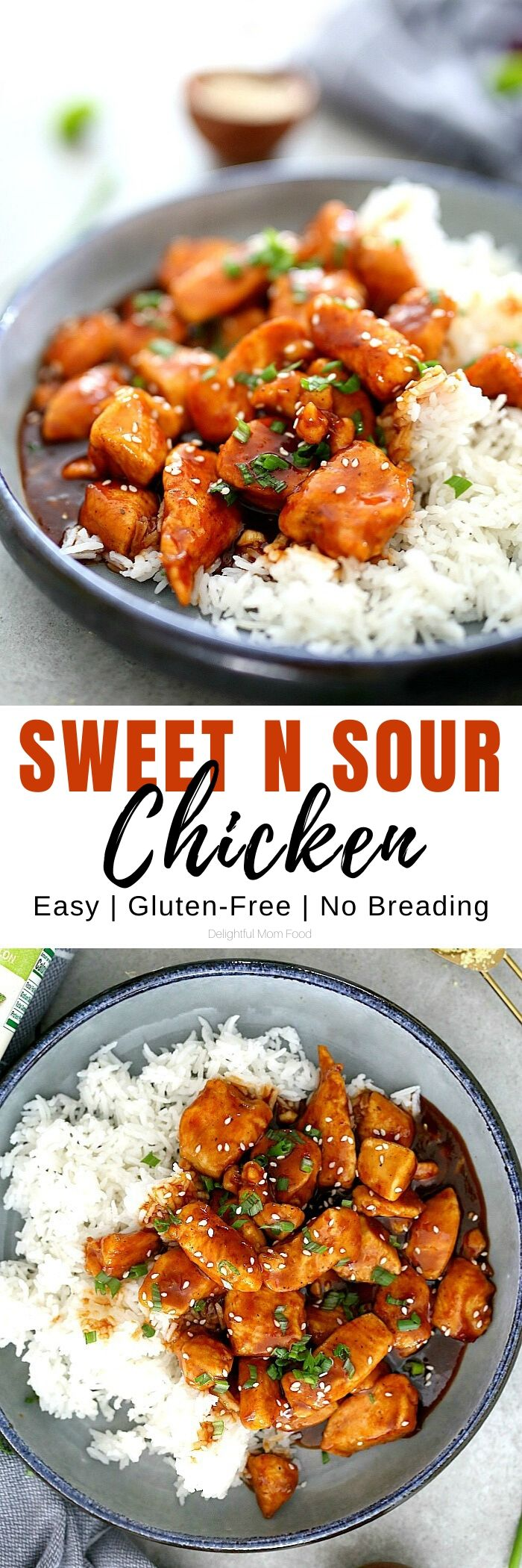 A wholesome and easy Chinese Sweet and Sour Chicken recipe to make on repeat. It is made without breading and coated with an excellent sweet and sour sticky sauce. #ad @Knorr #sweetandsourchicken #chicken #onepan #30minute #maindish #entree #dinner #wholesome #easy #quick #Chinesechicken #sweetandsour #sauce #glutenfree #dairyfree | Recipe at Delightful Mom Food