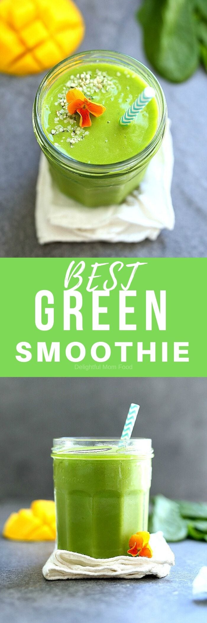 The BEST Green Smoothie Recipe! A healthy and easy green smoothie made with spinach, parsley, mango and pineapple. This green smoothie recipe can be turned into a smoothie bowl too. It hydrates, energizes, is delicious and has the option for adding supplements for more nutrition! #greensmoothierecipe #drink #beverage #smoothie #breakfast #healthy #easy #best #green #smoothie #glutenfree #vegan #mango #spinach | Delightful Mom Food