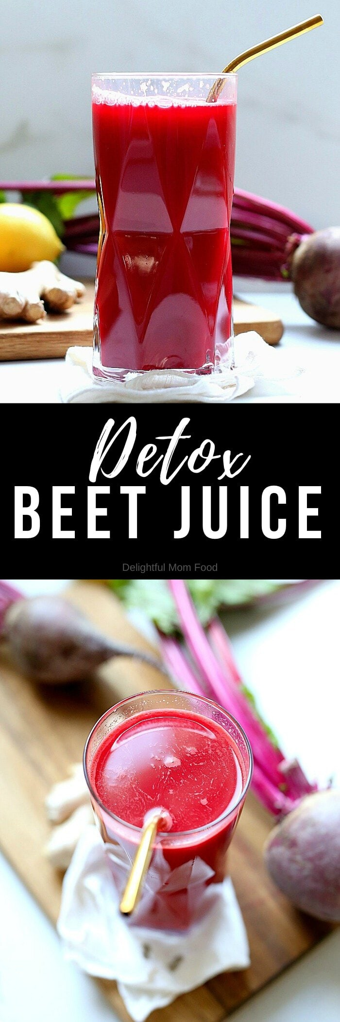 The BEST detox beet juice recipe! This healthy and easy homemade beet juice is made quickly with ingredients that detox for a body cleanse, to help with weight loss, improve skin, lower blood pressure and increase energy! #detox #beetjuice #detoxdrinks #blender #juicer #beets #recipe #bodycleanse #weightloss #recipe #healthy #easy #quick | Recipe at Delightful Mom Food