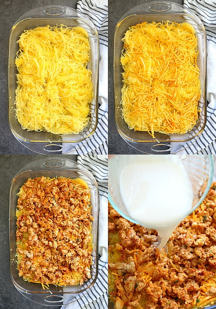 Easy ground turkey casserole that is made with spaghetti squash, sautéed onion and is oozing with melted cheese! This healthy turkey casserole is creamy, chunky, delicious, packed full of protein, and a cherished ONE meal for the entire family (with a dairy-free option)! That makes for one happy mamma! #groundturkey #spaghettisquash #casserole #glutenfree #paleo #realfood #recipe #dinner #main #easy #quick #kidfriendly #delightfulmomfood   Recipe at Delightful Mom Food