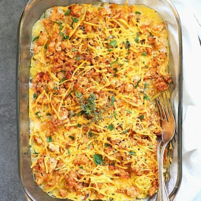 Easy ground turkey casserole that is made with spaghetti squash, sautéed onion and is oozing with melted cheese! This healthy turkey casserole is creamy, chunky, delicious, packed full of protein, and a cherished ONE meal for the entire family (with a dairy-free option)! That makes for one happy mamma! #groundturkey #spaghettisquash #casserole #glutenfree #paleo #realfood #recipe #dinner #main #easy #quick #kidfriendly #delightfulmomfood | Recipe at Delightful Mom Food
