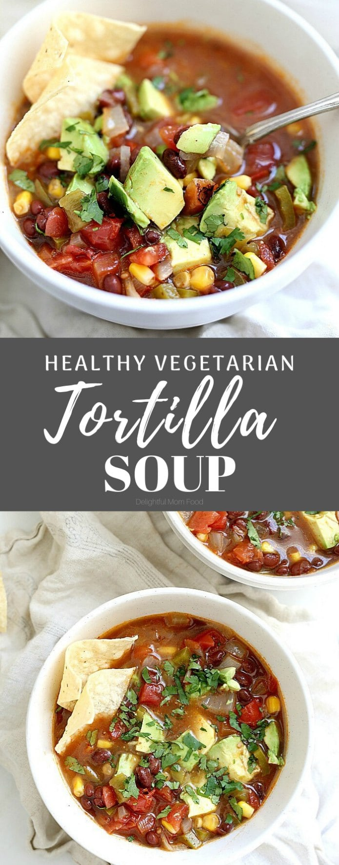 Healthy vegetarian tortilla soup full of savory Mexican vegetables. Chiles, sweet corn + spices add loads of flavor in this easy bean filled tortilla soup. Plus it is a healthy family meal ready in about 30 minutes! #vegetariantortillasoup #tortillasouprecipe #healthy #recipe #tortillasoup #glutenfree #dinner #soup #easytortillasoup | Recipe at Delightful Mom Food