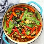 A savory, gingery and healthy stir fry vegetables recipe made with chunks of carrots, snow peas, onion, mushrooms, celery, broccoli, red peppers, and bok choy tossed in the best stir fry sauce! Serve these stir fry veggies for a quick dinner over rice, quinoa or as a side. #healthyvegetablestirfry #vegetablestirfry #stirfryrecipe #stirfryveggies #stirfryvegetables #delightfulmomfood | Recipe at Delightful Mom Food