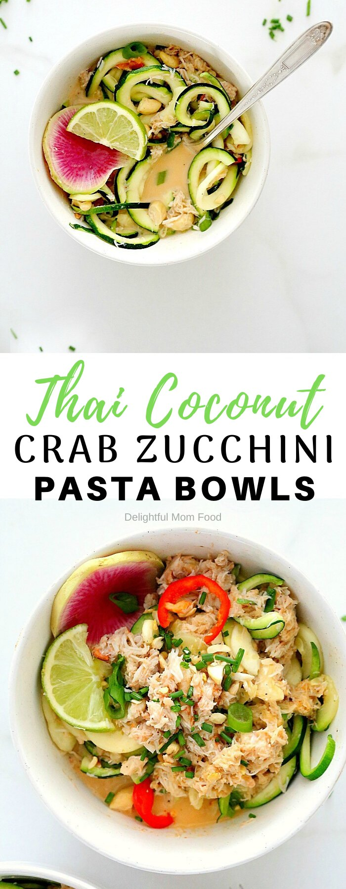 Zesty Thai coconut lime sauce makes this one amazing seafood zucchini pasta bowl (zoodles)! Made with zucchini pasta, crab meat, and cashews tossed in a sweet and spicy lemongrass, coconut milk based sauce for a low carb, gluten-free and dairy-free pasta meal! #healthy #zucchinipasta #zucchinipastabowl #healthydinner #seafood #crabmeat #thaicoconutbowls #dairyfreezucchinipasta #glutenfreebowls #glutenfree | Recipe at Delightful Mom Food