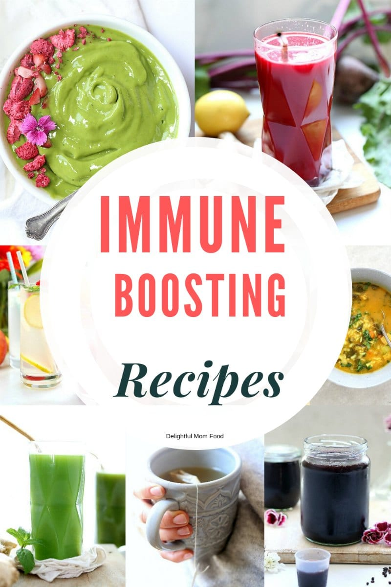 Immune Boosting Recipes that help prevent and heal cold, flu and virus season. These are our natural homemade go-to must have recipes and items for when flu season hits or a virus and bacteria enters the home. Eating this to strengthen the immune system.  #immuneboostingrecipes #healthy #immuneboosting #recipes #healthy #healing #glutenfree | at Delightful Mom Food