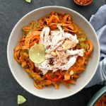Spicy Sweet Potato Pasta with Peanut Sauce and Chicken