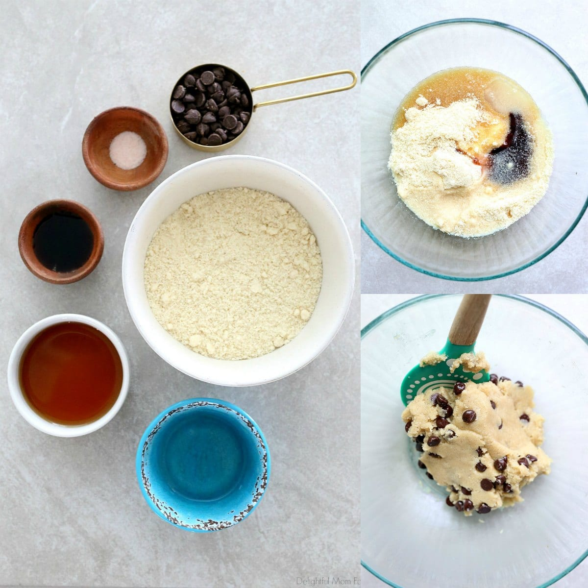 You will love making this easy, raw, edible cookie dough recipe! This egg-free version is safe to eat and the cookie dough is made from almond flour. Get creative and add mini chocolate chips or colorful sprinkles! #rawediblecookiedough #ediblecookiedough #ediblerawdough #ediblechocolatechipcookiedough #treats #sweets #dessert #healthy #withoutflour #flourless #edible #cookiedough #glutenfree | Recipe at Delightful Mom Food