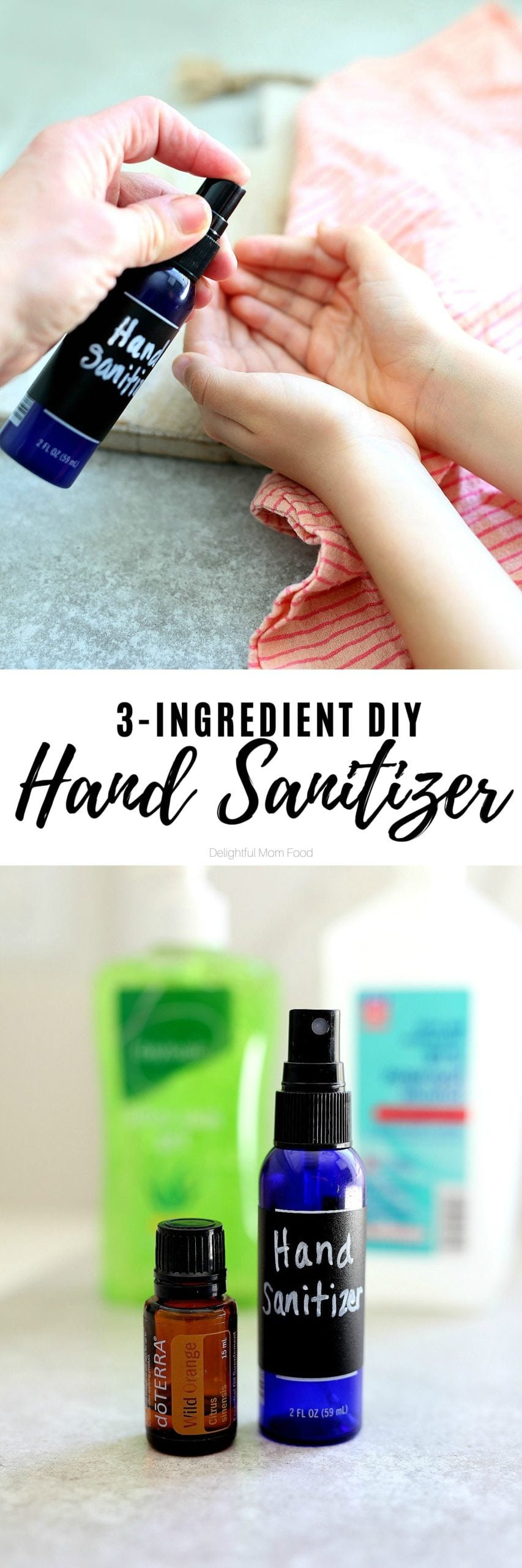 Easily make hand sanitizer at home with 3 simple ingredients! This homemade hand sanitizer recipe uses alcohol, aloe, and essential oils with the perfect ratio to sanitize without extra chemicals and fussy ingredients. Perfect when need some in a jiffy! #diy #homemade #recipe #handsanitzer #howtomake #recipeforhandsanitizer #handsanitizerspray | Recipe at Delightful Mom Food