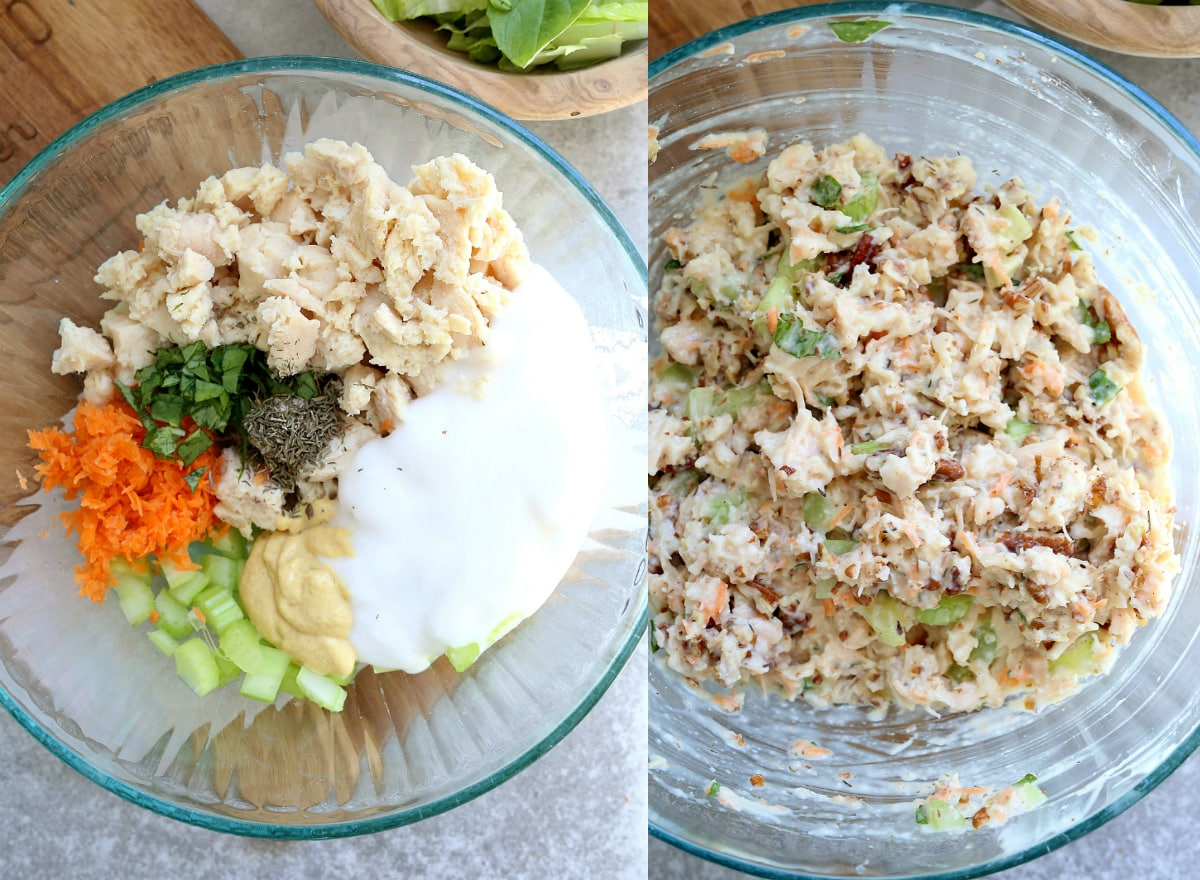 This crunchy and delectable yogurt pecan chicken salad takes less than 10 minutes to assemble, is keto, wholesome with vegetables added, and mouthwatering good! Top this satisfying meal over fresh greens or turned it into a chicken salad wrap with butter lettuce or tortillas. #pecanchickensalad #chickensaladrecipe #healthychickensalad #chicken #pecans #easy #lunch #glutenfree #keto #salad #delightfulmomfood | Recipe at Delightful Mom Food