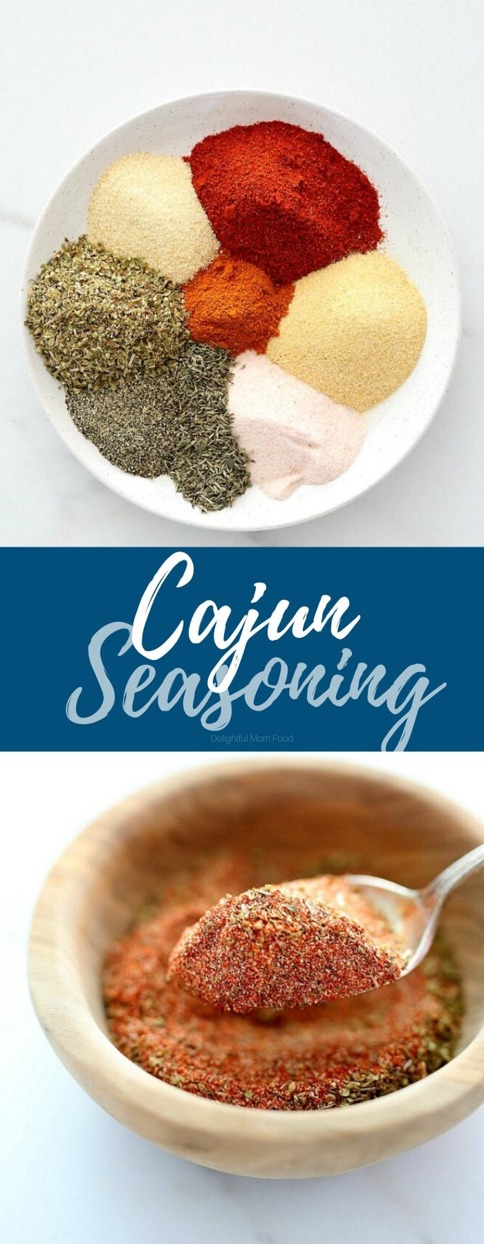 Spicy Cajun shrimp seasoning is a blend of spices and herbs that brings bold kick to seafood recipes! Anytime you are out of store-bought Cajun seasoning mix, make it at home combining paprika, garlic powder, onion powder, salt, pepper, cayenne pepper, oregano and thyme. Use it for all spicy seafood recipes! #Cajunshrimpseasoning #cajun #seasoning #mix #recipe #spices #herbs #homemade | Recipe at Delightful Mom Food