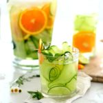 Cucumber Water with Orange, Lime, and Mint