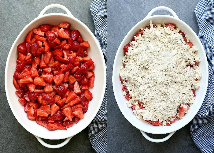 layering strawberries and crisp topping in a baking dish