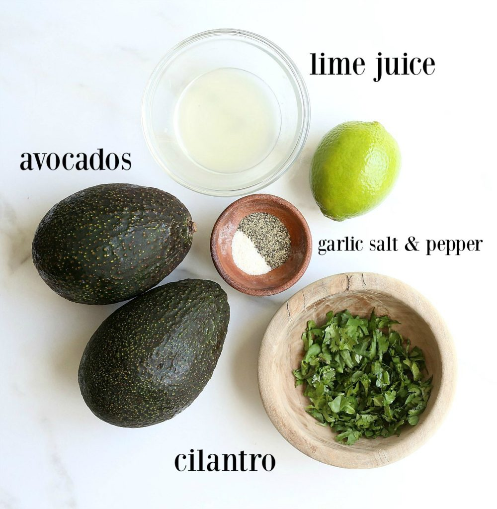 5 easy ingredients for homemade guacamole: avocado, lime, cilantro, garlic salt and pepper