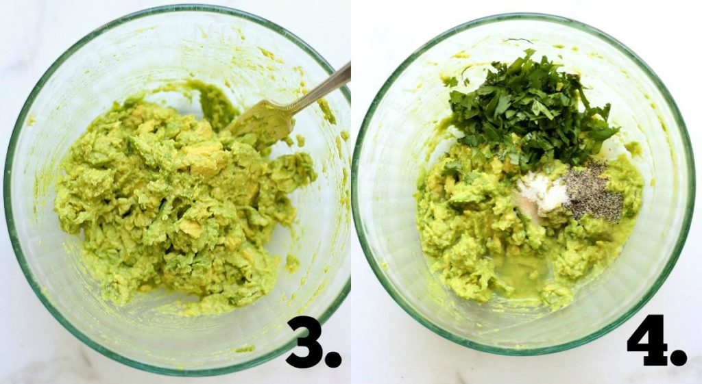 a bowl showing mixing ingredients for homemade guacamole