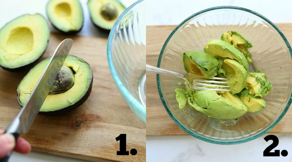 removing avocado seed with a knife and mashing the meat of an avocado with a fork
