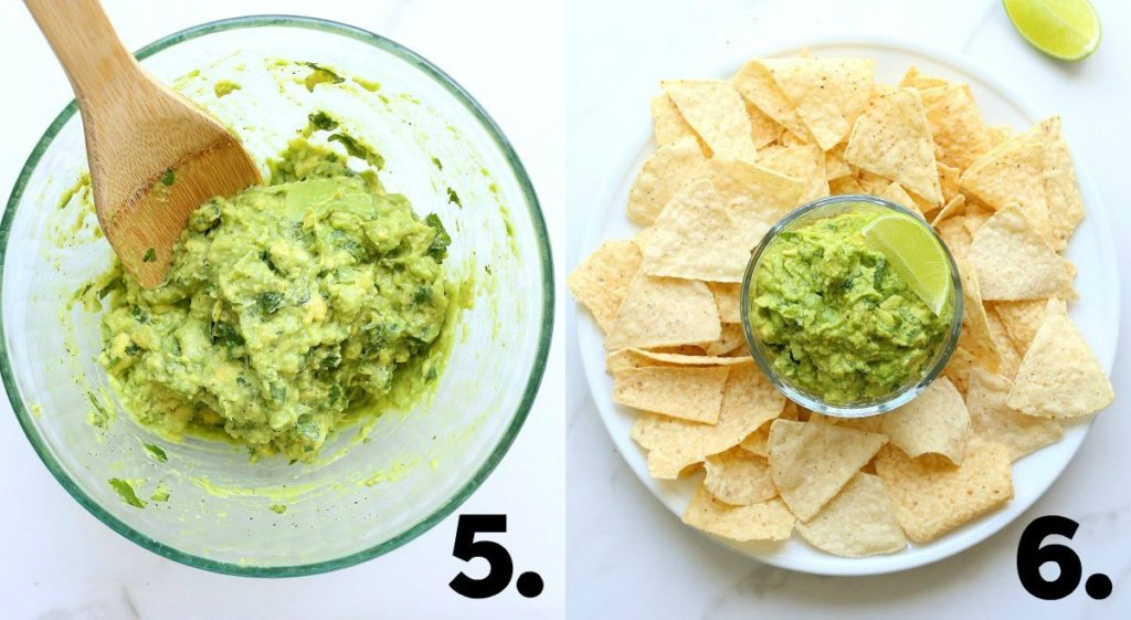 guacamole recipe in a bowl and served with a side of tortilla chips