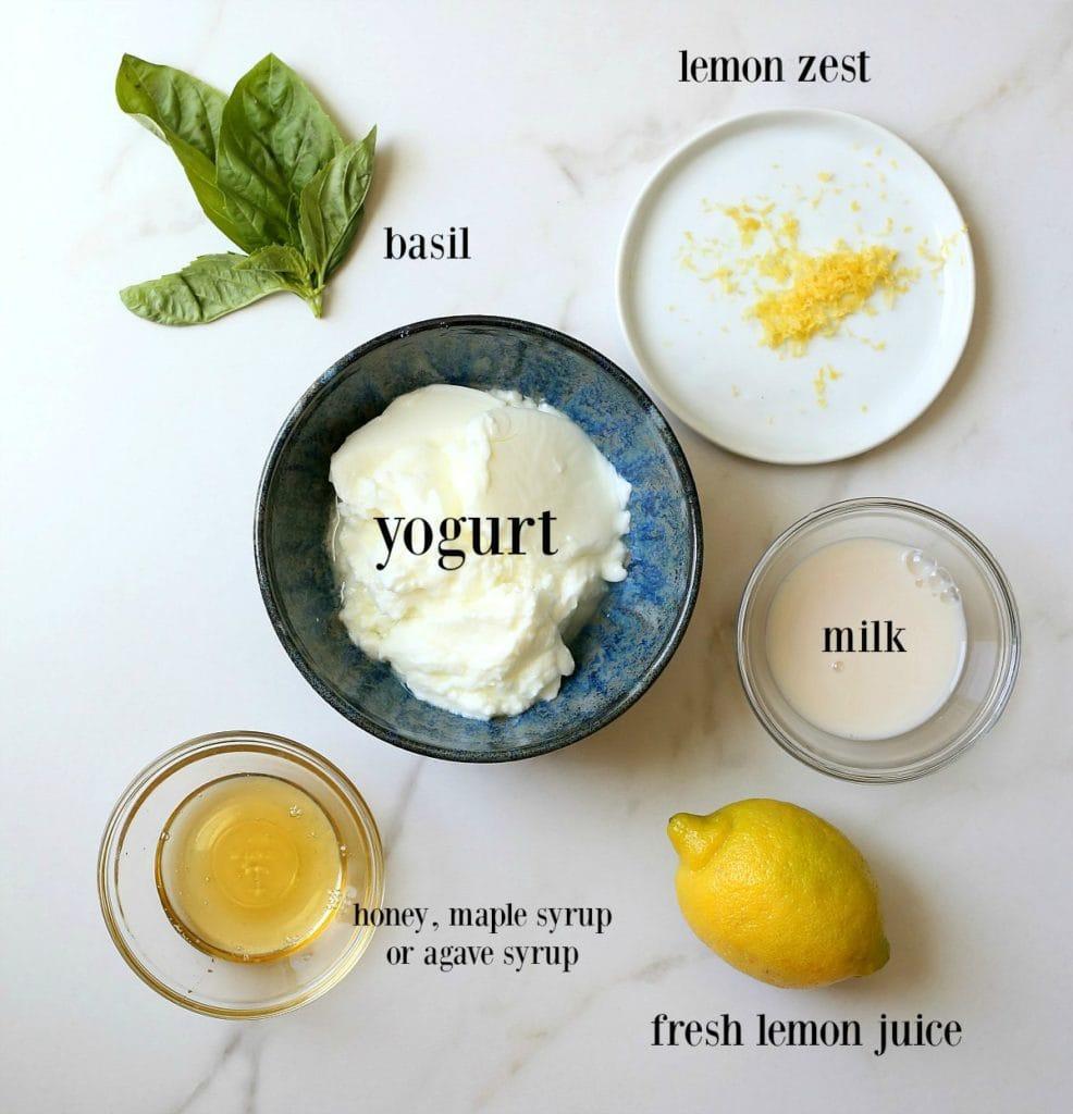 ingredients to make basil lemon posicles