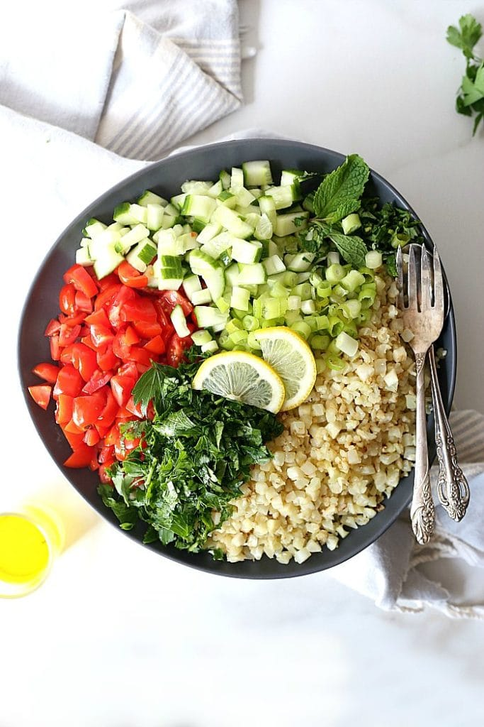 ingredients in cauliflower rice tabbouleh