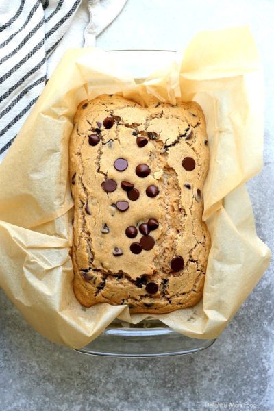 gluten free chocolate chip quick bread fresh out of the oven
