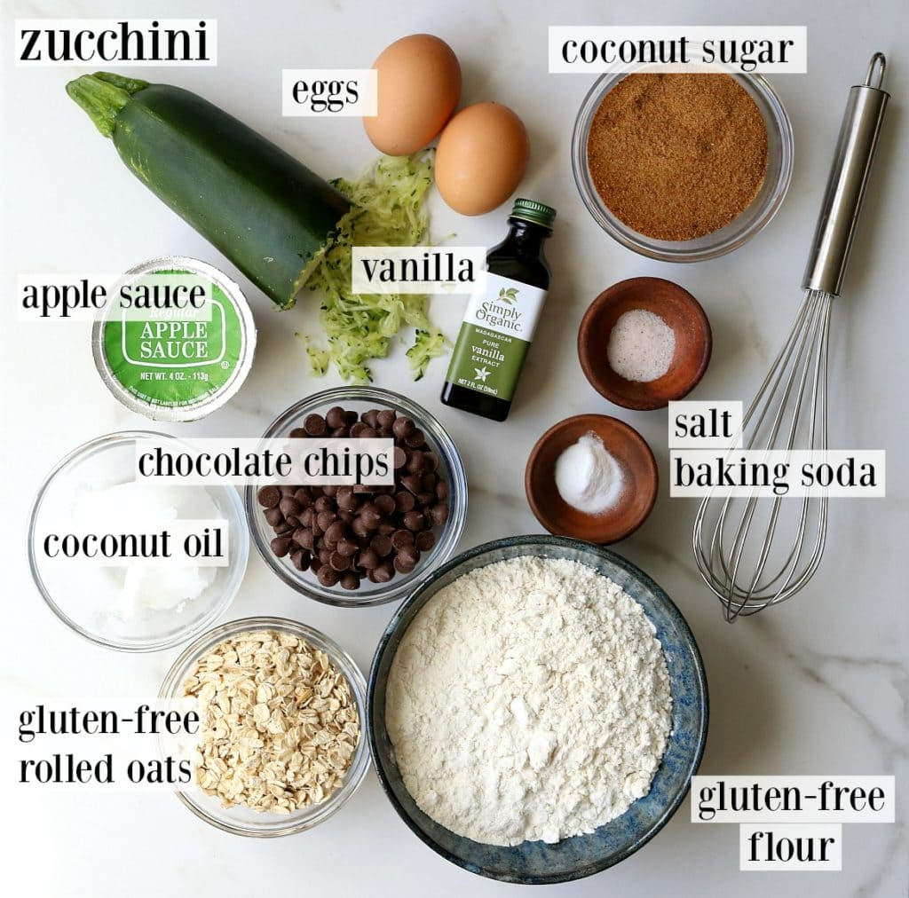 overhead visual of the ingredients that go into gluten-free zucchini cookies