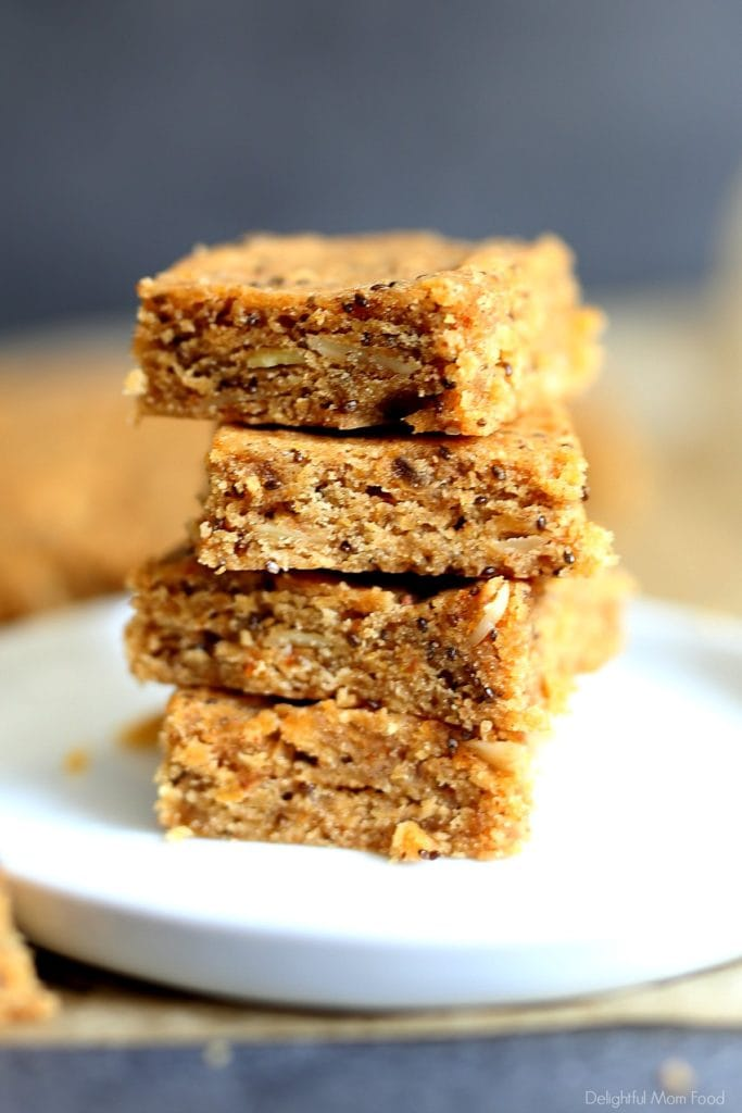a stack of almond butter and chia seed bars