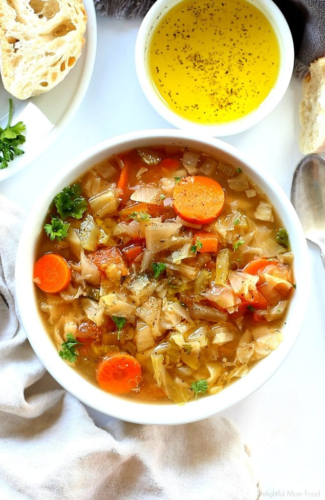 bowl of warm cabbage, carrots, parsley soup