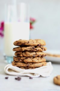 stack of paleo chocolate chip cookies