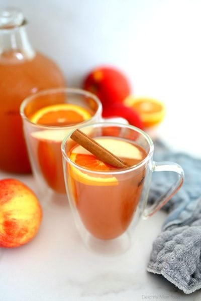 homemade apple cider in a cup with cinnamon orange and apple slices