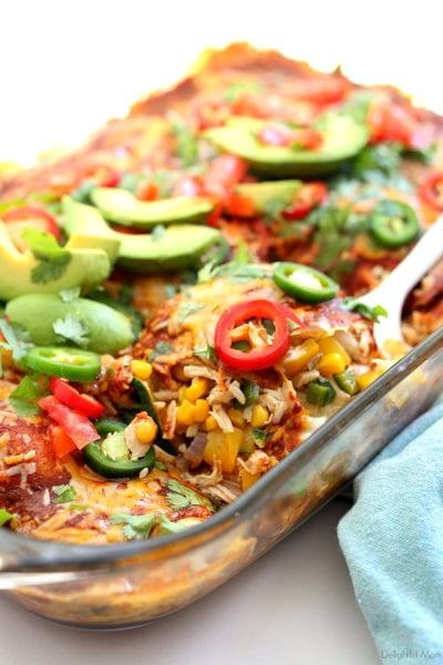 low carb baked keto enchiladas casserole made with chicken and zucchini