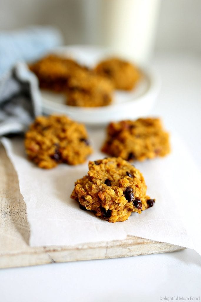 chocolate chip pumpkin breakfast oat cookies on parchment paper with milk
