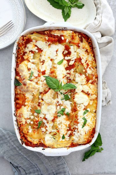 baked vegetable lasagna in a baking dish