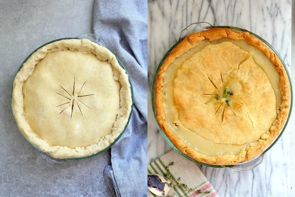 crimp gluten-free pie crust and cut slices in center and crimp the edges then bake