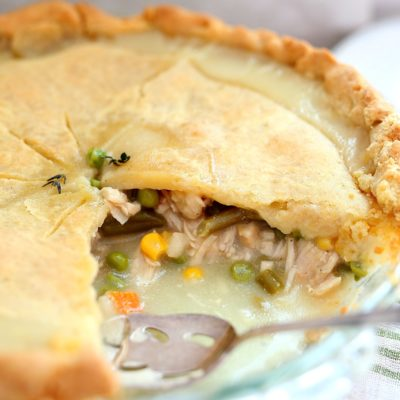 whole chicken pot pie showing the filling