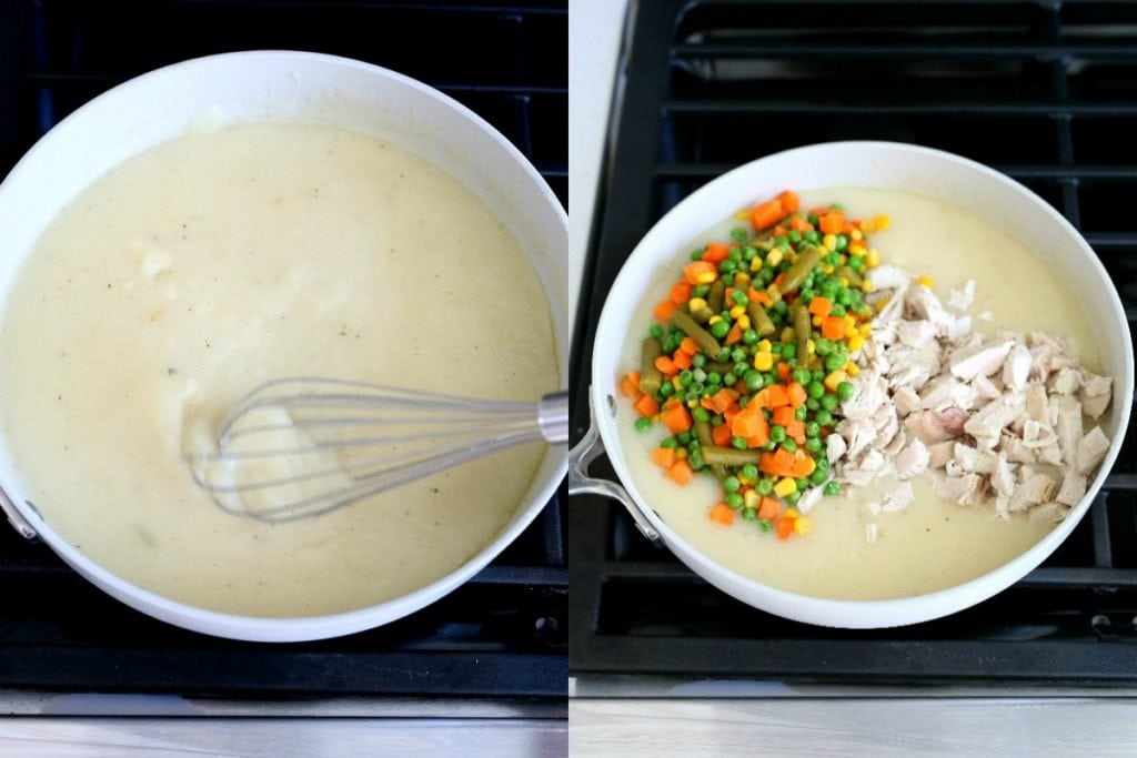 whisk the sauce to thicken and add vegetables and chicken breast