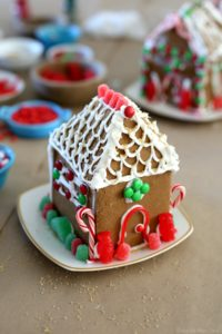 Decorated gluten-free gingerbread house